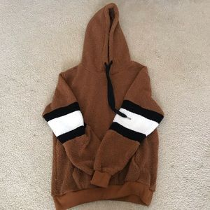 BROWN BLACK AND WHITE FLUFFY TEDDY HOODIE